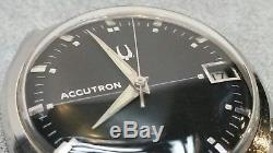 Vintage Bulova Accutron Black Dial 218 D Tuning Fork 1967 M7 Stainless Steel