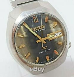 Vintage Citizen Hisonic 3701A Tuning Fork watch runs well stunning dial
