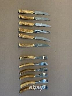 Vintage Stag Horn Steak Knives and Fork Set