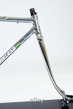 Vintage Steel Frame & Forks Columbus Tubing Chrome & Grey 50cm RARE Excellent