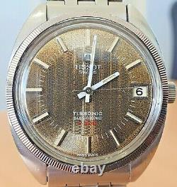 Vintage Tissot Tissonic F300 SS Tuning Fork watch cal 2010 RUNS