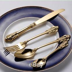 Vintage Western Gold Luxury Cutlery 24pcs Dining Knives Forks Dinnerware Set