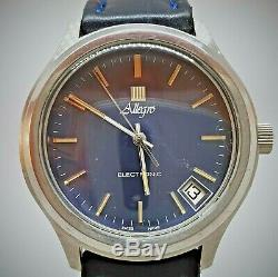 Vintage blue dial SS Allegro ESA9162 Tuning Fork watch Zenith cal 50.0