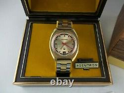 Vtg 1971 Bulova Accutron Tuning Fork 18k Gold-Plated Watch 2181, Original Box