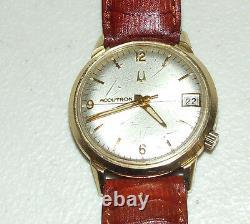 Working 1969 BULOVA Accutron 2181 Time & Date Tuning Fork Men's Wrist Watch M9
